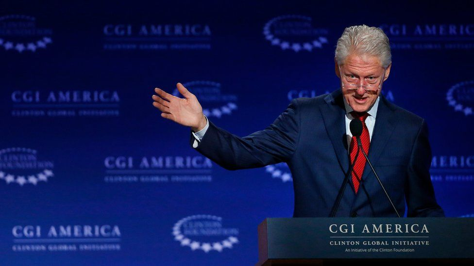 In this June 10, 2015 file photo, former U.S. President Bill Clinton speaks at annual gathering of the Clinton Global Initiative America, which is a part of The Clinton Foundation, in Denver