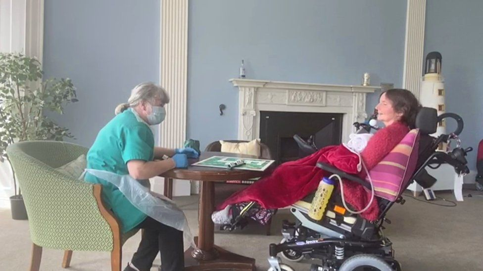 Staff member and patient at Leuchie House