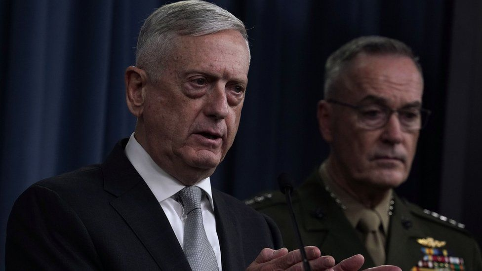 U.S. Defense Secretary Jim Mattis (L) and Chairman of the Joint Chiefs of Staff Gen. Joseph Dunford (R) brief members of the media on Syria at the Pentagon April 13, 2018