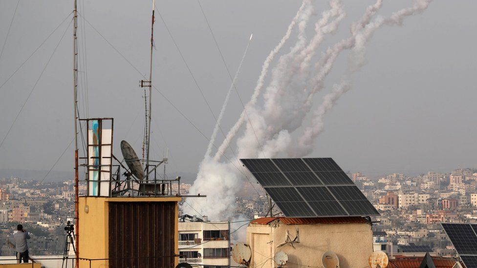 Rockets are launched by Palestinian militants in Gaza towards Israel (10 May 2021)