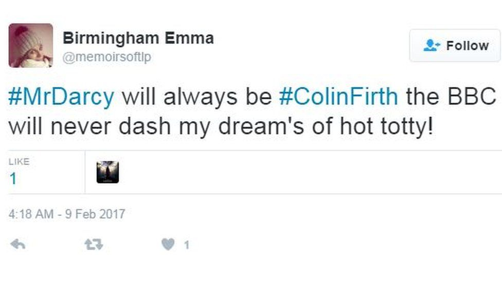 Birmingham Emma tweets 'Mr Darcy will always be Colin Firth, the BBC will never dash my dream's of hot totty!'