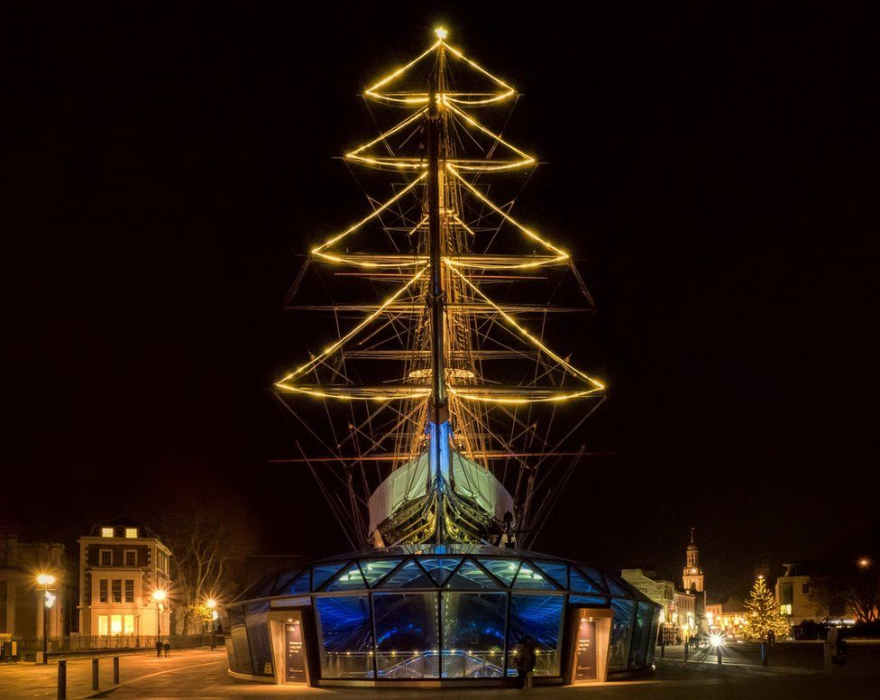 Cutty Sark Ship with Christmas Tree mast