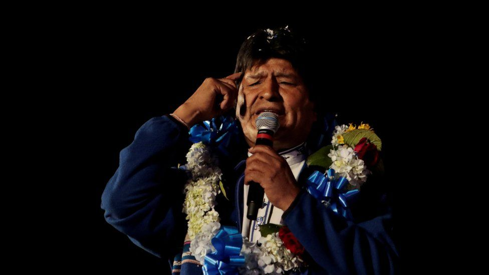 Bolivia's President Evo Morales speaks during a closing campaign rally in El Alto
