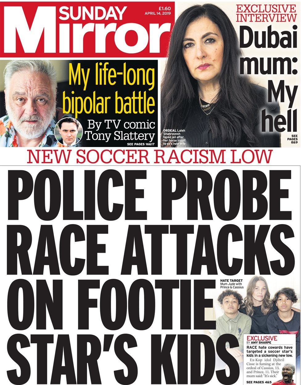 Sunday Mirror front page, 14/4/19
