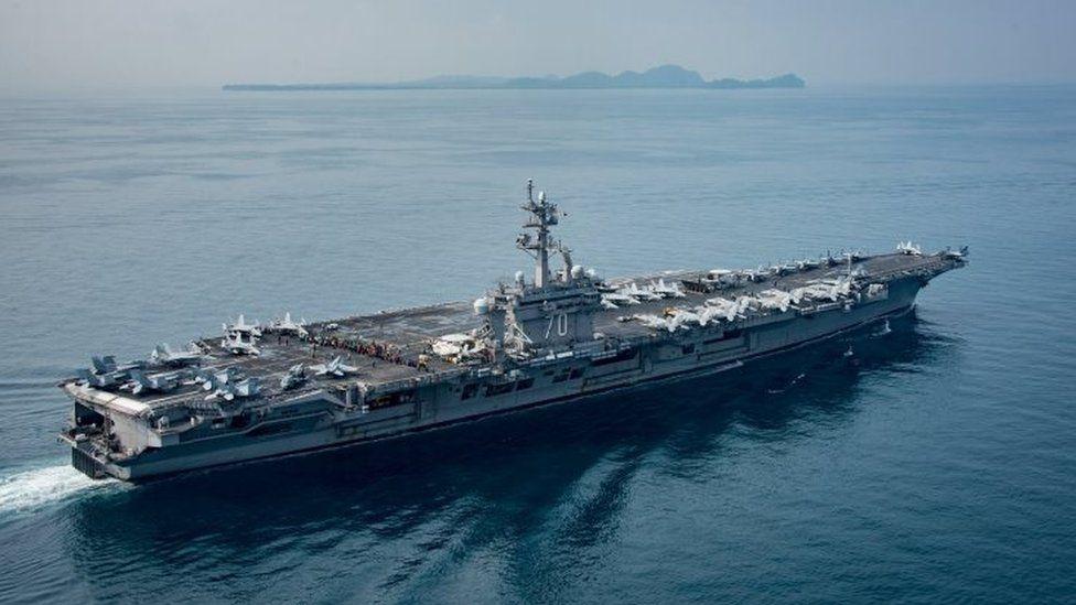 FILE PHOTO: The U.S. aircraft carrier USS Carl Vinson transits the Sunda Strait, Indonesia on April 15, 2017