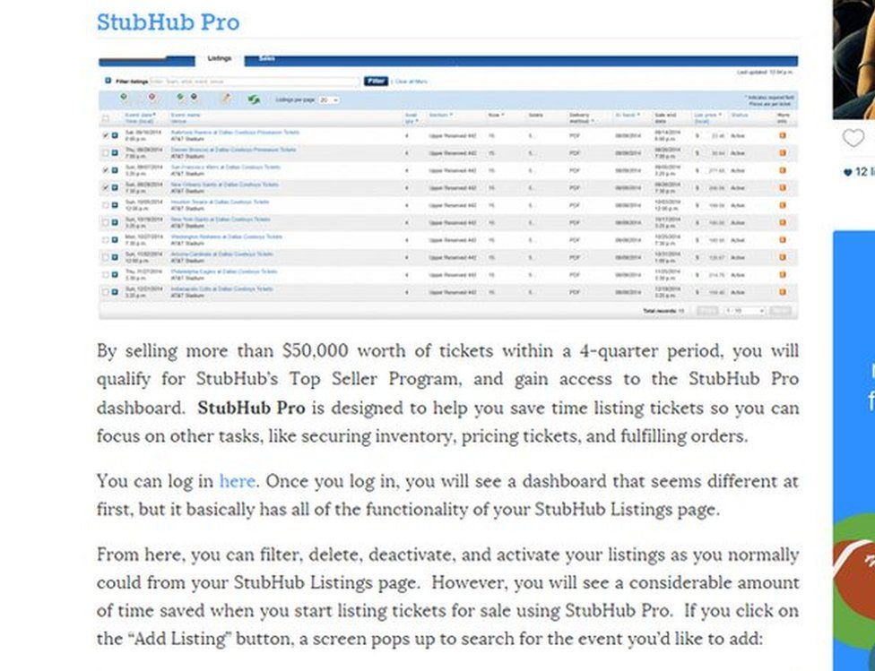 StubHub Pro screengrab