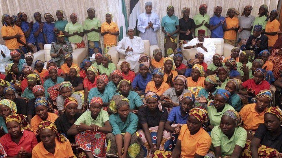 Some of the 82 released Chibok girls meet Nigerian President Muhammadu Buhari (C) at the Presidential Villa in Abuja, Nigeria 07 May 2017