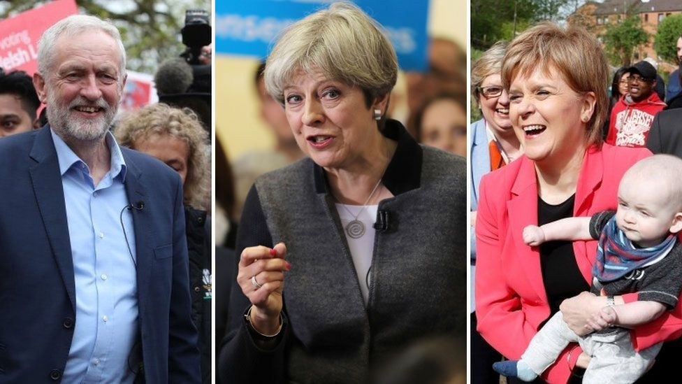 Corbyn, May, Sturgeon