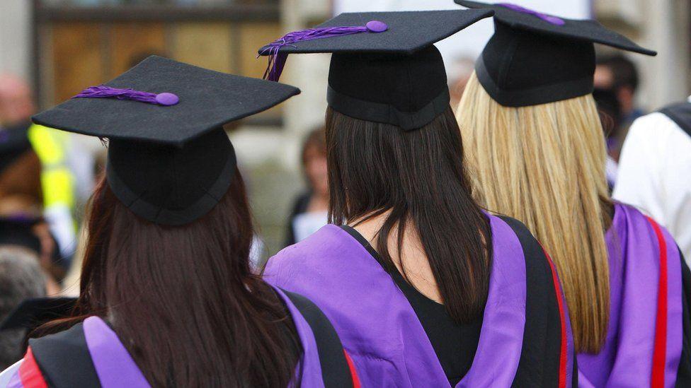 Students graduating from university