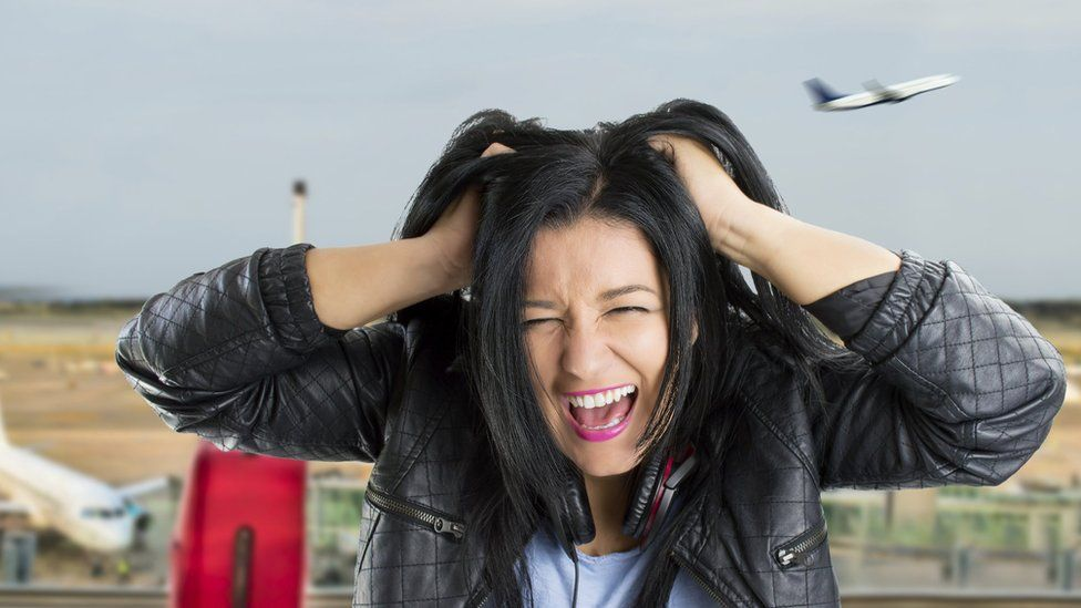 frustrated female traveller