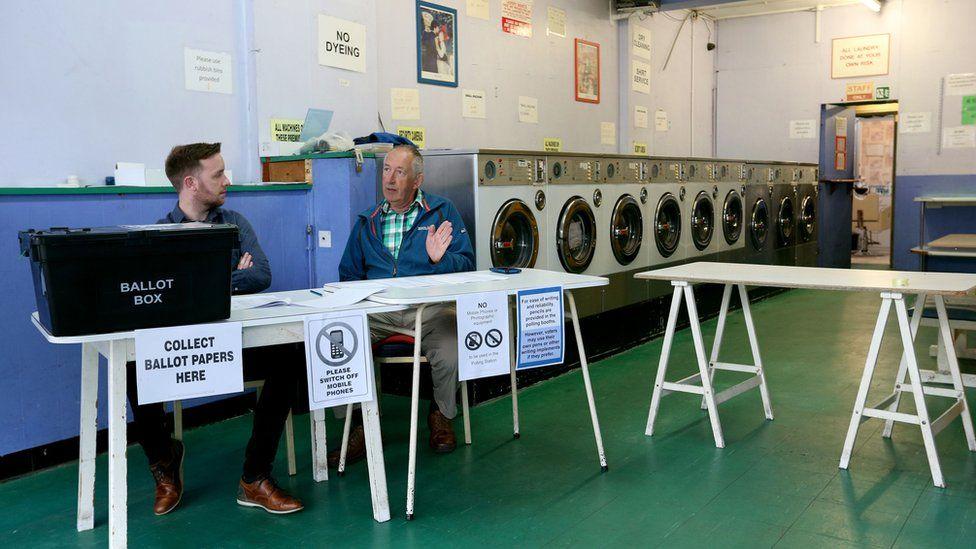 Polling station inside a launderette