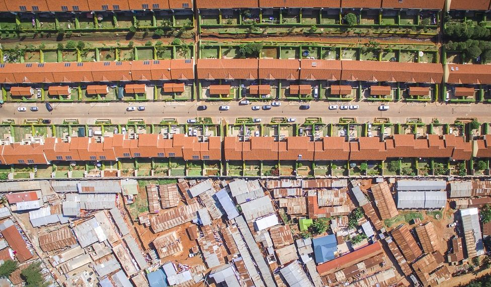 Aerial shot of the contrast of rich and poor neighborhoods in Nairobi, Kenya.