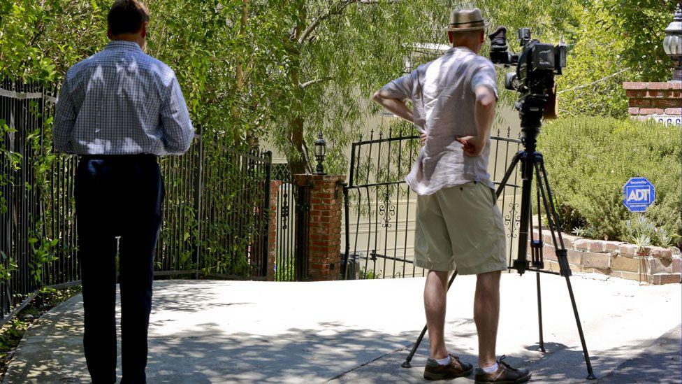 TV crews at Yelchin's house