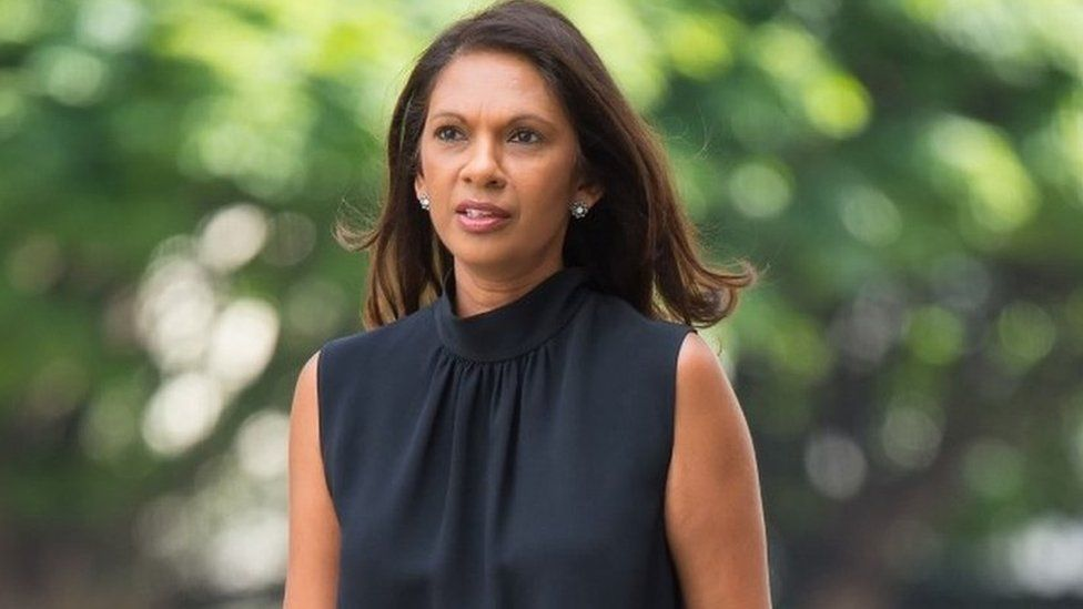 """Gina Miller arrives at Westminster Magistrates"""" Court in London, where the 4th Viscount St Davids, Rhodri Philipps is accused of online threats made against the anti-Brexit campaigner."""