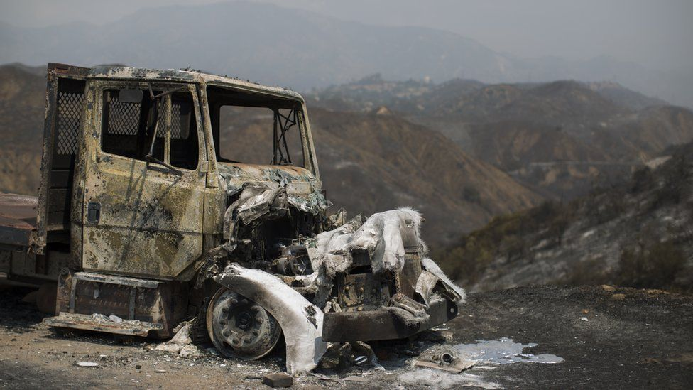 A burned truck is seen at the La Tuna Fire on September 3, 2017 near Burbank, California