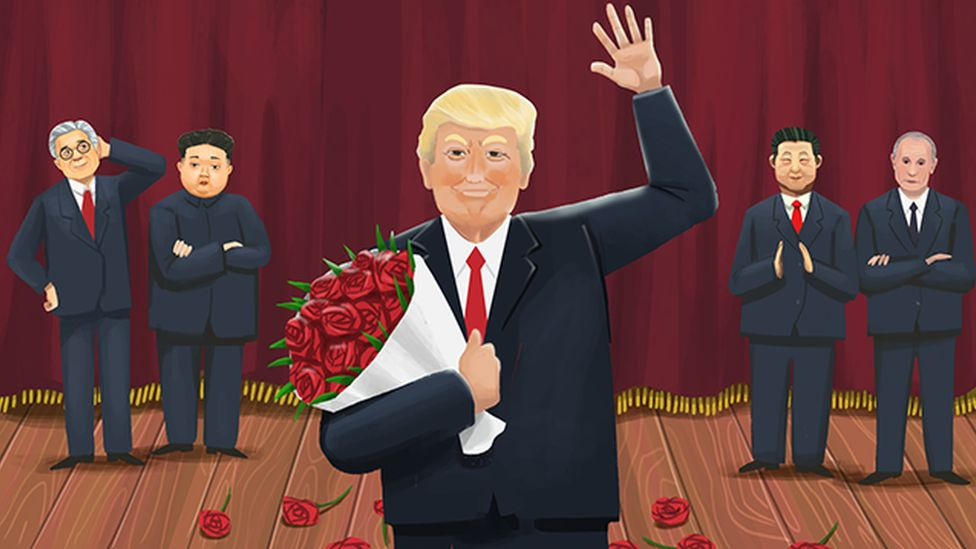 An ilustraion of US President Donald Trump stands on a stage holding a bunch of flowers and waving, while South Korean President Moon Jae-in. North Korean leader Kim Jong-un, Chinese President Xi Jinping and Russian President Vladimir Putin