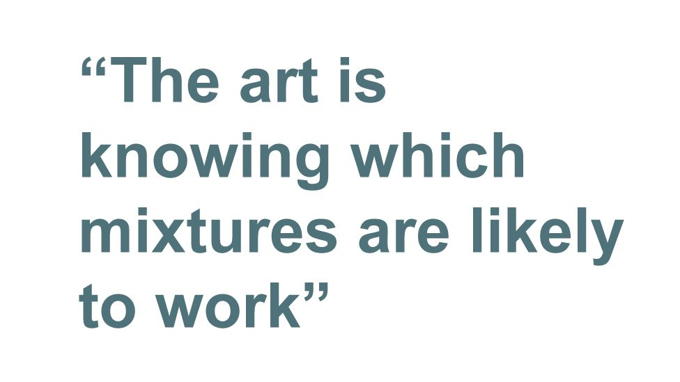 Quotebox: The art is knowing which mixtures are likely to work