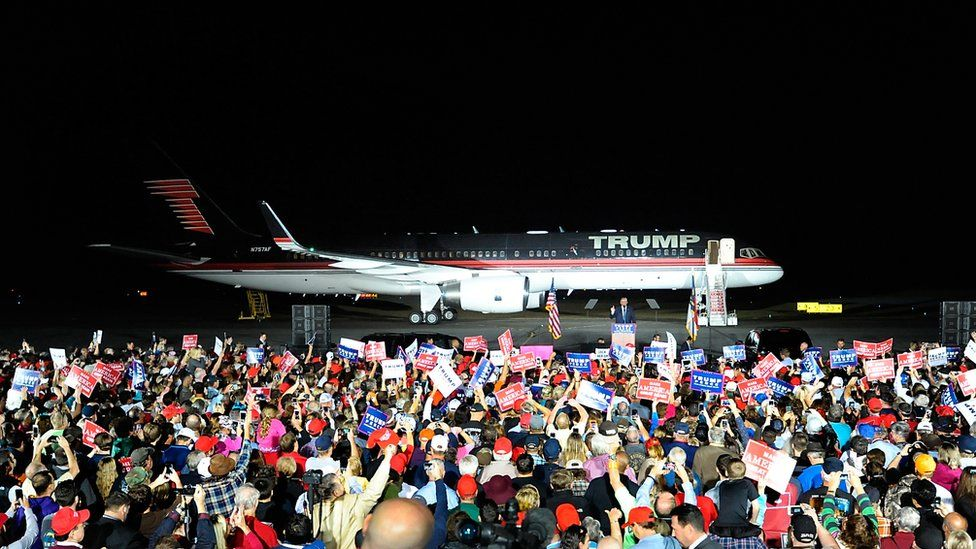 Republican presidential nominee Donald Trump speaks during a campaign event at the Kinston Jet Center on October 26, 2016 in Kinston, North Carolina