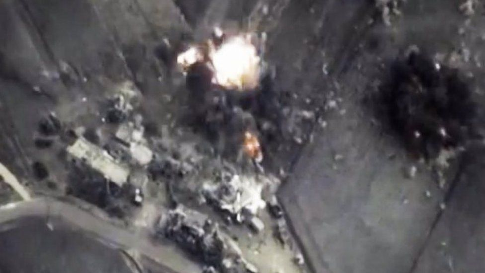 A photo provided by the Russian defence ministry allegedly shows a bomb hitting a target in Syria. Photo: October 2015