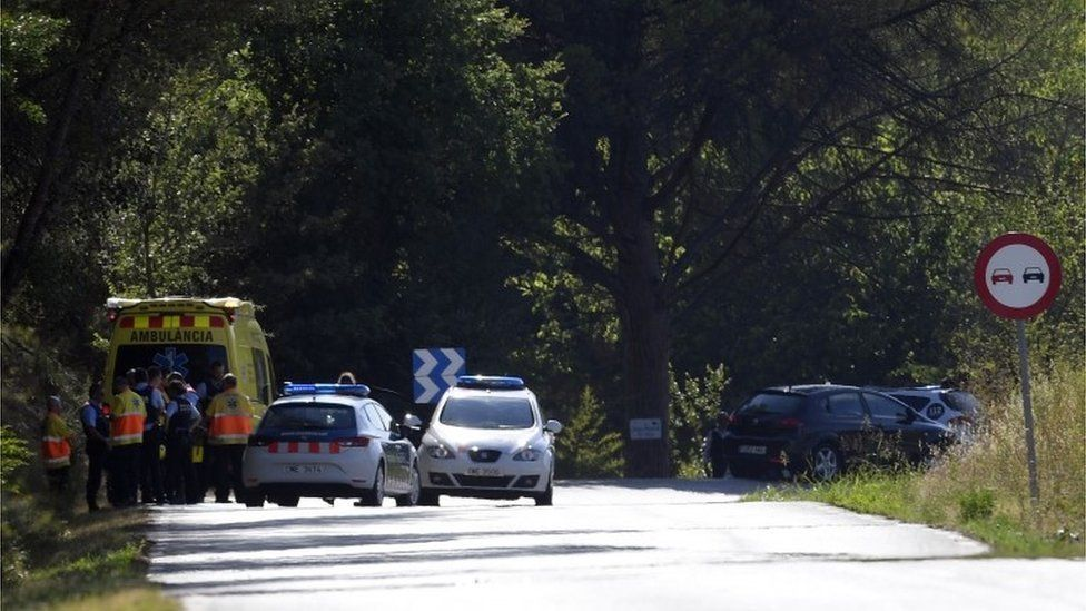 Roadblock near the scene of the operation carried out by police on 21 August following the previous week's Barcelona van attack,