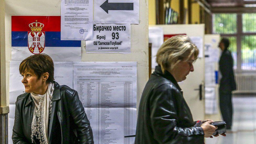 Polling station in Belgrade, Serbia, 24 April 201