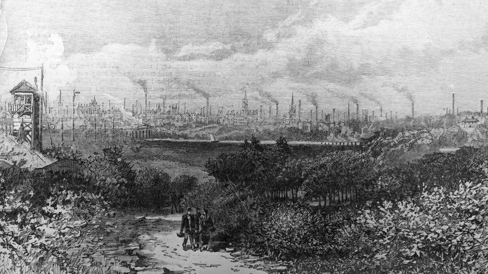 The skyline of Preston in 1885