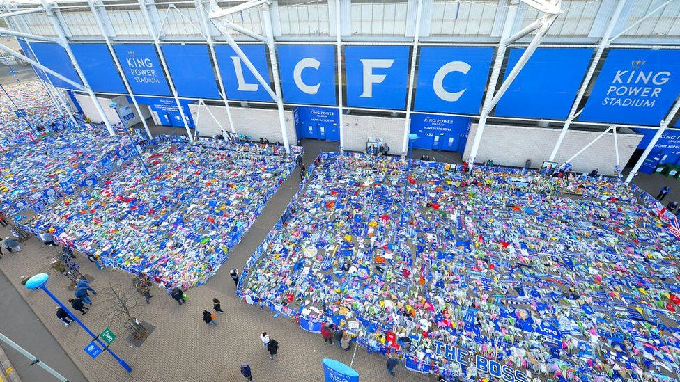 Tributes outside Leicester's stadium