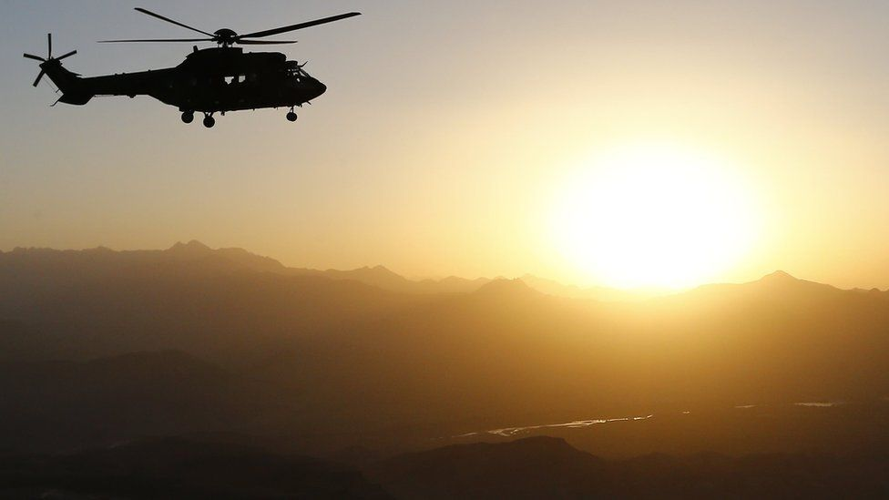 A French Cougar helicopter over Afghanistan, July 20912
