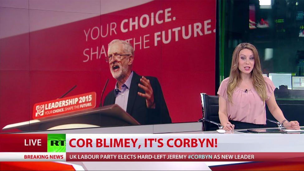 Screengrab from RT showing Jeremy Corbyn