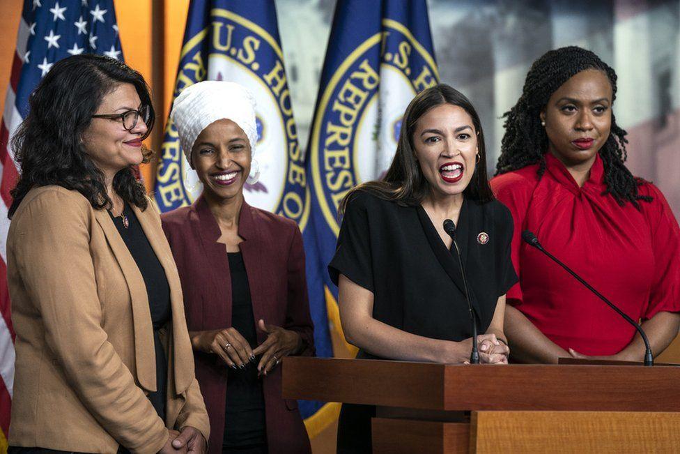 Democratic Representatives Rashida Tlaib, Ilhan Omar, Alexandria Ocasio-Cortez and Ayanna Pressley speak out in the US Capitol in Washington, DC, USA. 15 July 2019.