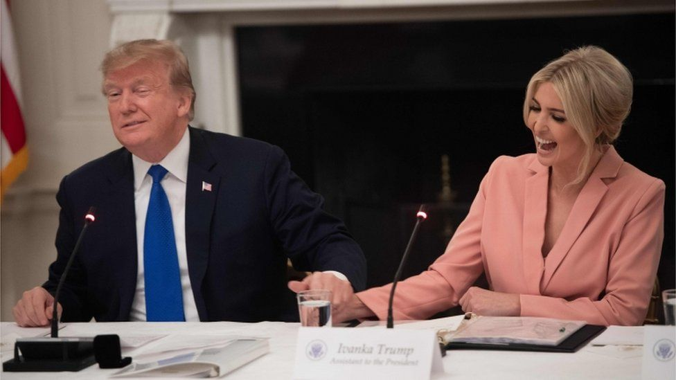 US President Donald Trump speaks alongside senior advisor and daughter Ivanka Trump (R) during the first meeting of the American Workforce Policy Advisory Board in the State Dining Room of the White House in Washington, DC, March 6, 2019.