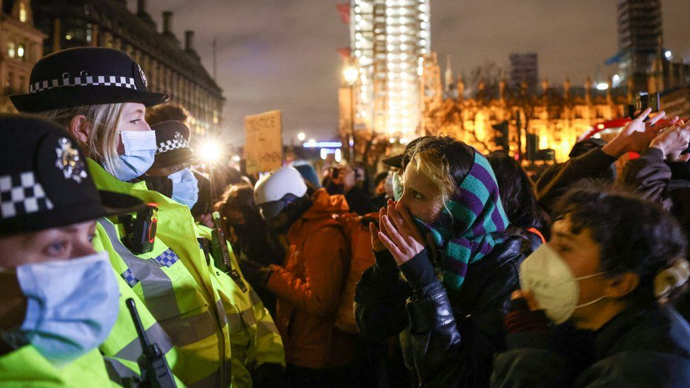 Police arrested four people and handed out two fines during a protest in Parliament Square following the killing of Sarah Everard