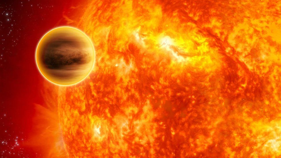 An artist's impression of an extrasolar planet similar to WASP-13b