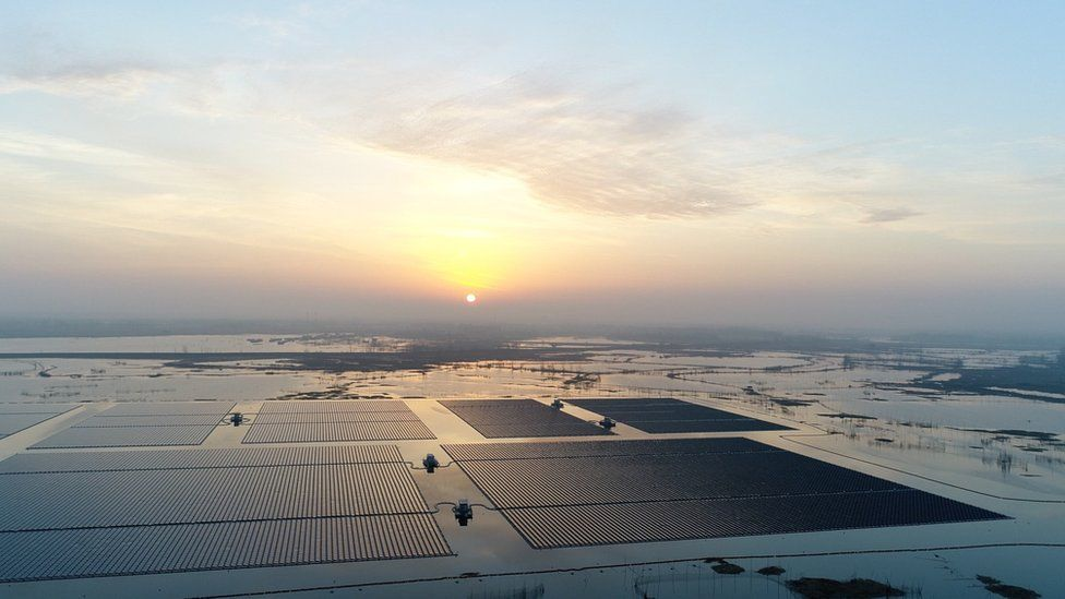 Sunrise over a huge floating solar farm in Anhui, China