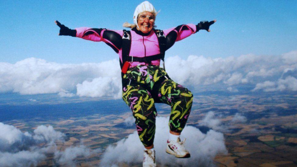 Dilys Price skydiving