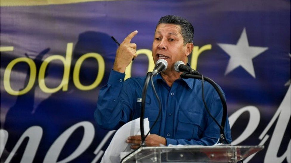 Venezuelan opposition presidential candidate Henri Falcon speaks during a press conference after the National Electoral Council (CNE) announced the results of the voting on election day in Venezuela, on May 20, 2018.