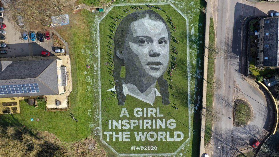 Giant portrait of Greta Thunberg