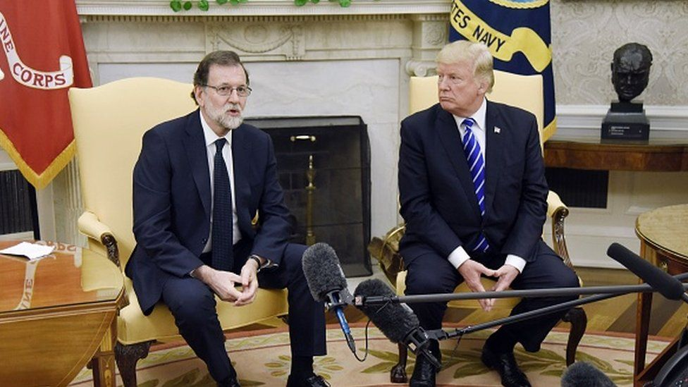 US President Donald Trump and former Spanish Prime Minister Mariano Rajoy