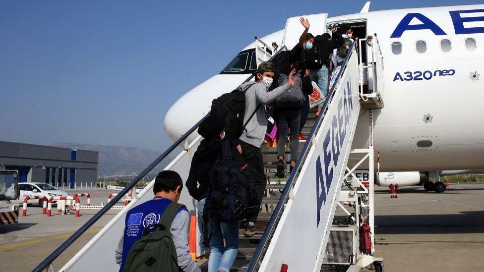 The children were moved from overcrowded camps on the Aegean islands