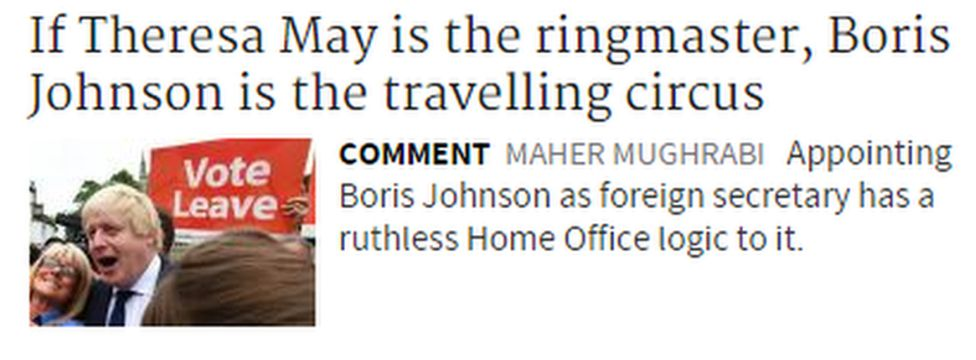 Headline reads: If Theresa May is the ringmaster, Boris Johnson is the travelling circus