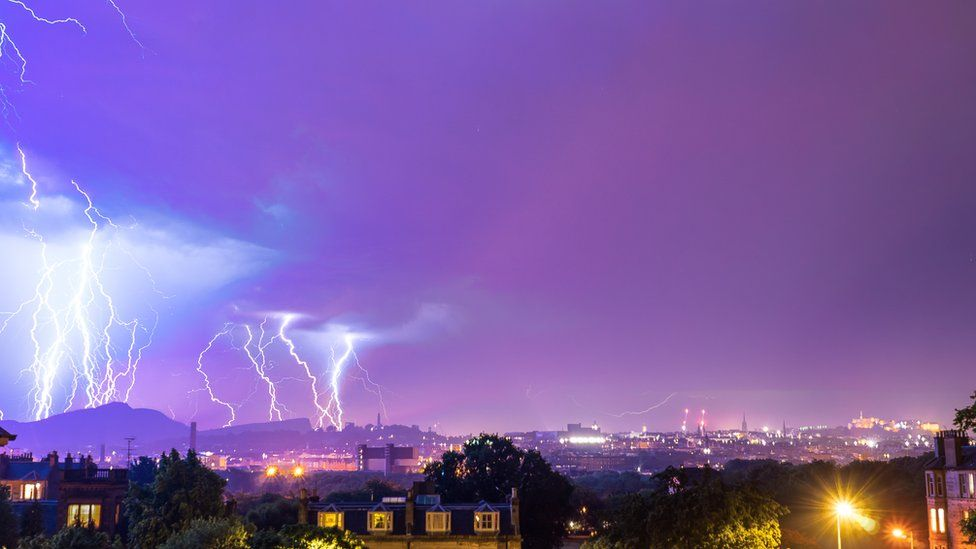 Lightning as seen in Edinburgh