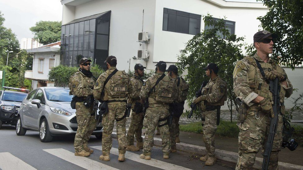Brazilian police outside Lula Institute in Sao Paulo