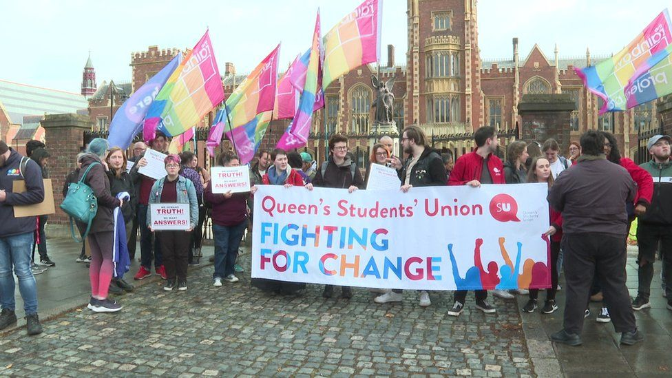 Queen's Student Union and the Rainbow Project held a protest outside the university in early October