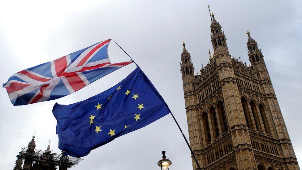 UK and EU fags outside Parliament