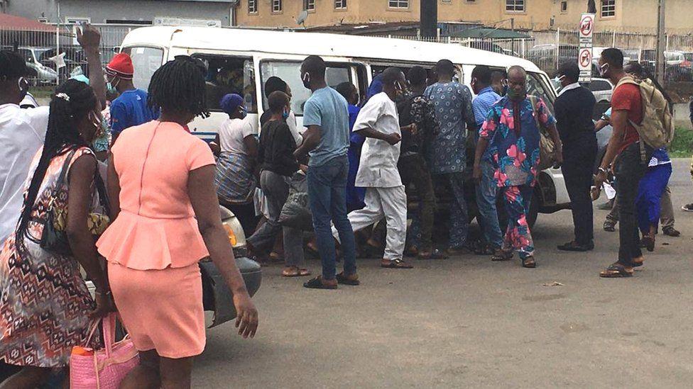 Lagos bus stop on Monday