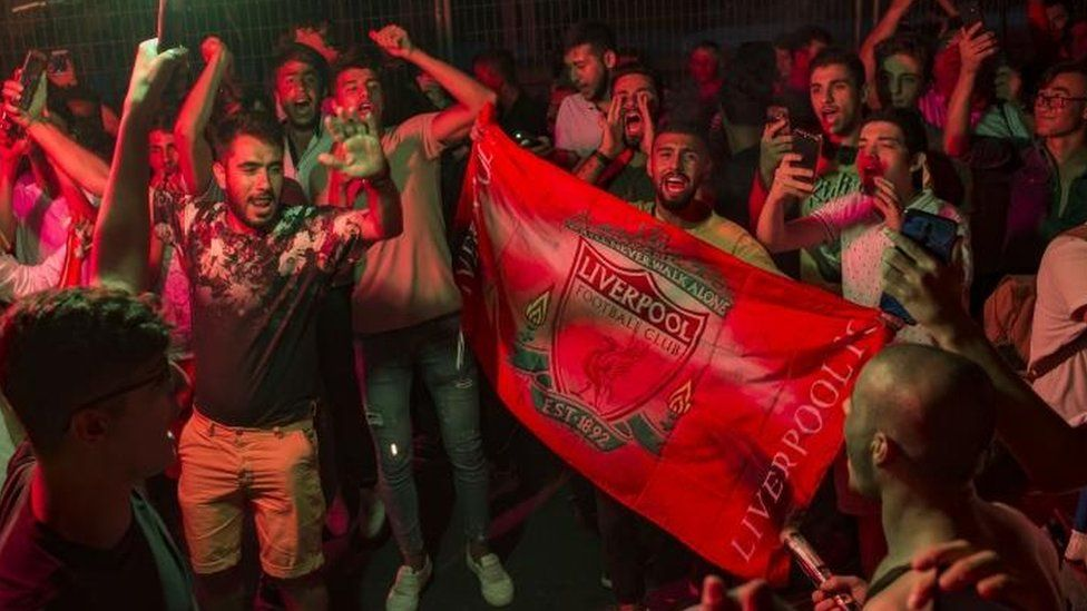 Liverpool fans celebrate