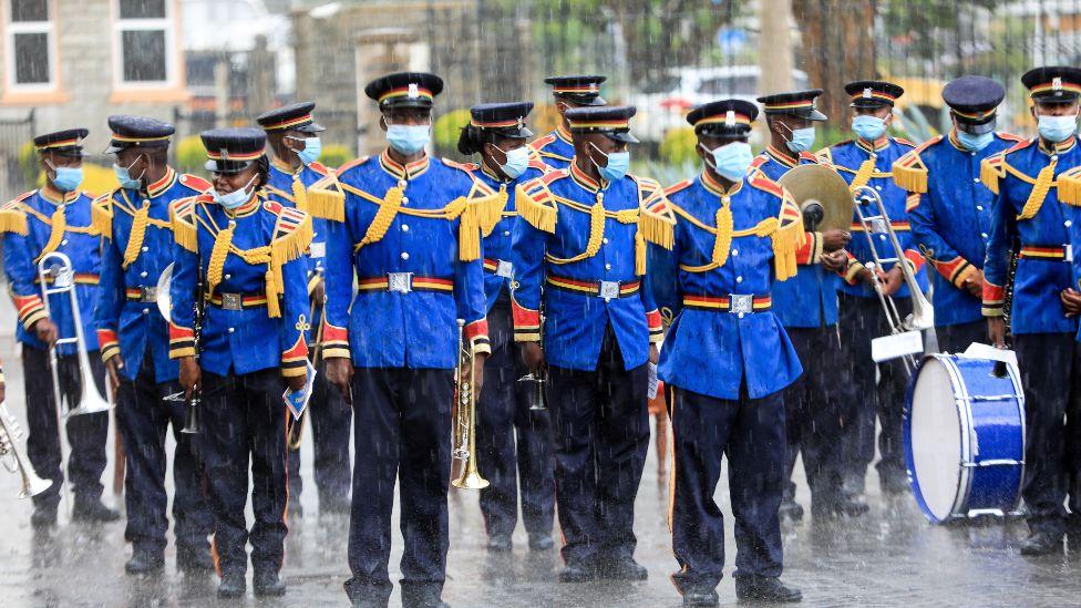 Kenya's police band in the rain in Nairobi, Kenya - Wednesday 5 May 2021