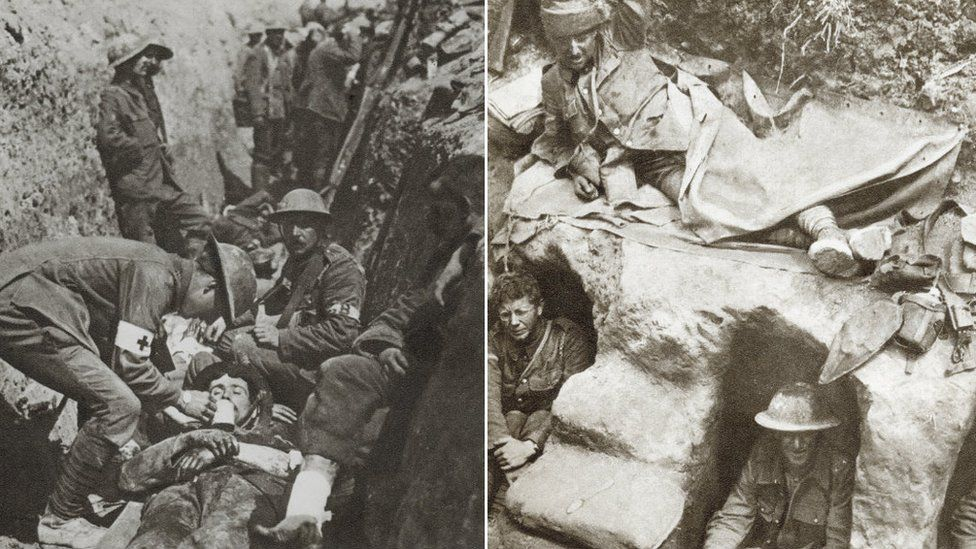 Stretcher bearer offering first aid; soldiers in trench, both World War One
