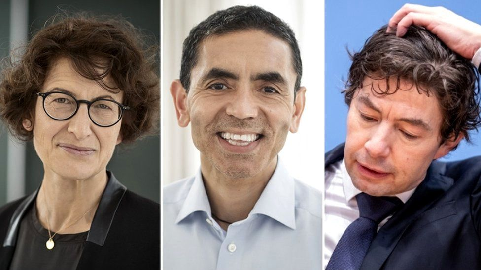 Özlem Türeci (L), Uğur Şahin (C) and Christian Drosten are among the German scientists who are now household names