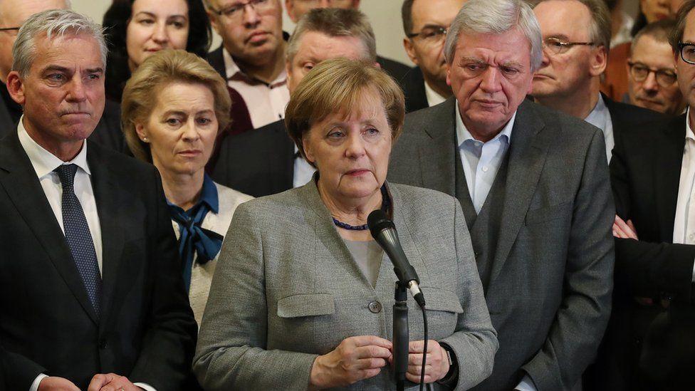 German Chancellor Angela Merkel with CDU allies, 19 Nov 17